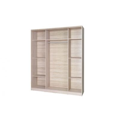 Levné Šatní skříně: Třídveřová šatní skříň do dětského pokoje Sven, bílá + dub sonoma, úchytky - modrá