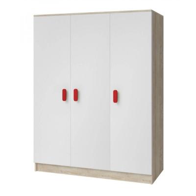 Levné Šatní skříně: Třídveřová šatní skříň do dětského pokoje Sven, bílá + dub sonoma, úchytky - červená