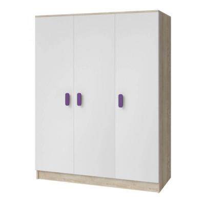 Levné Šatní skříně: Třídveřová šatní skříň do dětského pokoje Sven, bílá + dub sonoma, úchytky - fialová