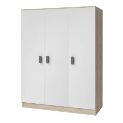 Levné Šatní skříně: Třídveřová šatní skříň do dětského pokoje Sven, bílá + dub sonoma, úchytky - šedá