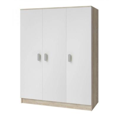 Levné Šatní skříně: Třídveřová šatní skříň do dětského pokoje Sven, bílá + dub sonoma, úchytky - bílá