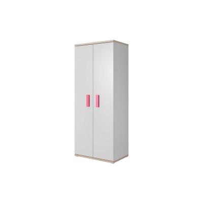 Levné Šatní skříně: Dvoudveřová skříň Atis, bílá + dub sonoma, úchytky - růžová