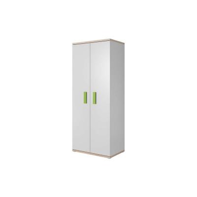 Levné Šatní skříně: Dvoudveřová skříň Atis, bílá + dub sonoma, úchytky - zelená