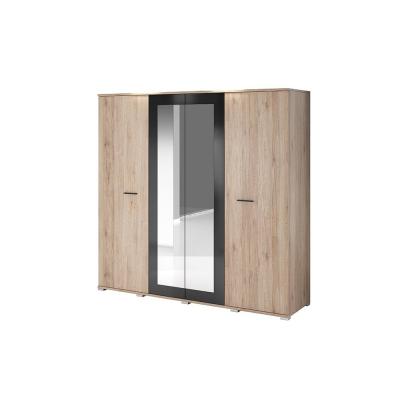Levné Šatní skříně: Šatní skříň Ulima, san remo + černý lesk