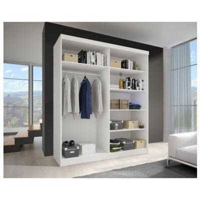 Levné Šatní skříně: Šatní skříň Vala II 150 cm se zrcadlem, bílý korpus, dub sonoma dveře
