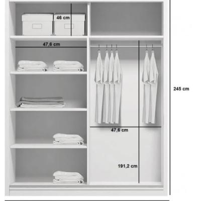 Levné Šatní skříně: Prostorná šatní skříň CALEB, šířka 100 cm, výška 245 cm