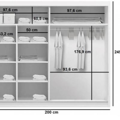 Levné Šatní skříně: Prostorná šatní skříň CALEB, šířka 200 cm, výška 245 cm