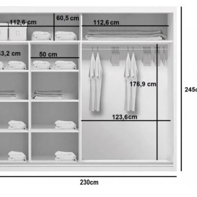Levné Šatní skříně: Prostorná šatní skříň CALEB, šířka 230 cm, výška 245 cm