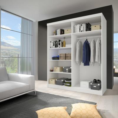 Levné Šatní skříně: Moderní šatní skříň se zrcadlem Zorea 05 120 cm, dub sonoma korpus, bílé dveře