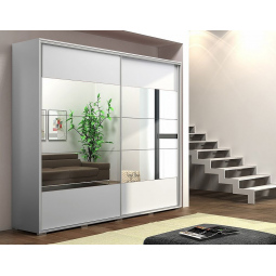 Levné Šatní skříně: Zrcadlová šatní skříň FERNANDO, šířka 200 cm, výška 245 cm