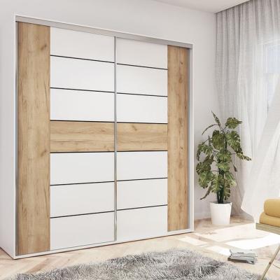 Levné Šatní skříně: Prostorná moderní šatní skříň ILANA, šířka 230 cm, výška 215 cm