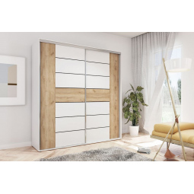 Levné Šatní skříně: Prostorná moderní šatní skříň ILANA, šířka 230 cm, výška 245 cm