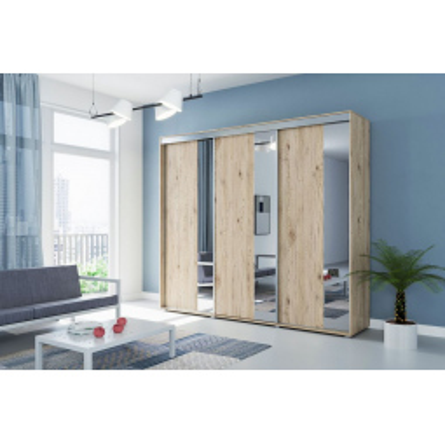 Levné Šatní skříně: Třídveřová zrcadlová šatní skříň MARCO, šířka 278 cm