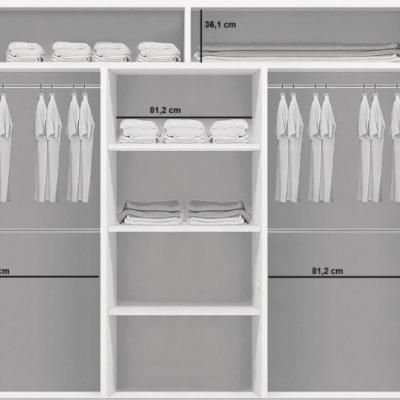 Levné Šatní skříně: Třídveřová šatní skříň SERGIO, černobílá