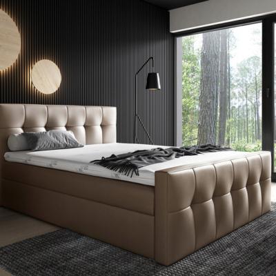 Levné Boxspringové postele: Čalouněná postel Maxim 160x200, hnědá eko kůže + TOPPER