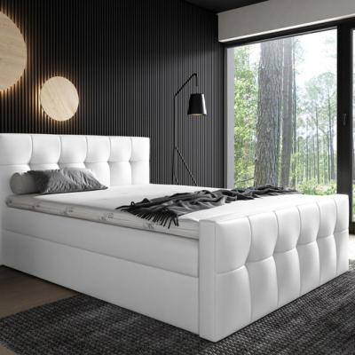 Levné Boxspringové postele: Čalouněná postel Maxim 180x200, bílá eko kůže + TOPPER