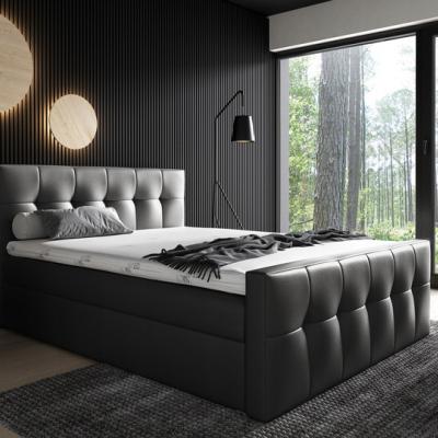 Levné Boxspringové postele: Čalouněná postel Maxim 180x200, černá eko kůže + TOPPER