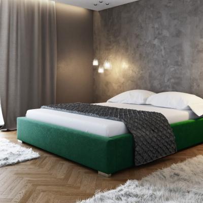 Levné Dvojlůžka s úložným prostorem: Čalouněná postel bez čela Paulo 200x200, zelená