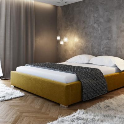 Levné Dvojlůžka s úložným prostorem: Čalouněná postel bez čela Paulo 200x200, žlutá