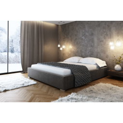 Levné Dvojlůžka s úložným prostorem: Čalouněná postel bez čela Paulo 200x200, šedá