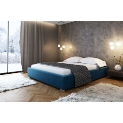 Levné Dvojlůžka s úložným prostorem: Čalouněná postel bez čela Paulo 200x200, modrá