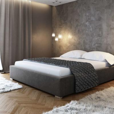 Levné Dvojlůžka s úložným prostorem: Čalouněná postel bez čela Paulo 180x200, šedá
