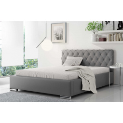 Levné Dvojlůžka s úložným prostorem: Čalouněná manželská postel Piero 180x200, šedá eko kůže