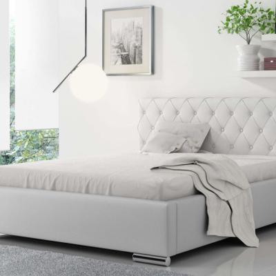 Levné Dvojlůžka s úložným prostorem: Čalouněná manželská postel Piero 180x200, bílá eko kůže