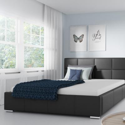 Levné Manželské postele: Jednoduchá postel Marion 180x200, černá eko kůže