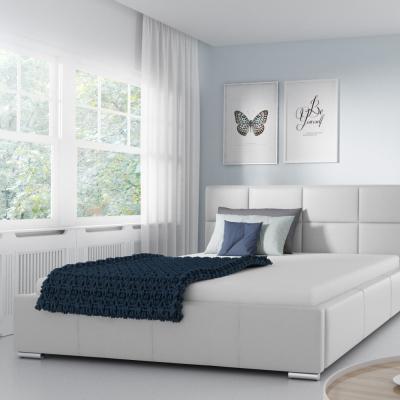 Levné Manželské postele: Jednoduchá postel Marion 160x200, bílá eko kůže
