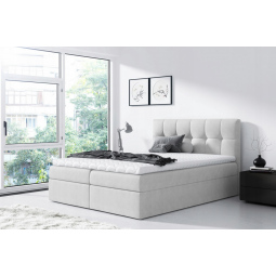 Levné Boxspringové postele: Jednoduchá postel Rex 180x200, světle šedá