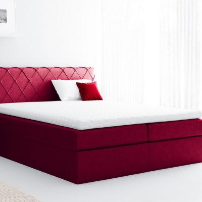 Levné Boxspringové postele: Pohodlná čalouněná postel Perez 200x200, červená