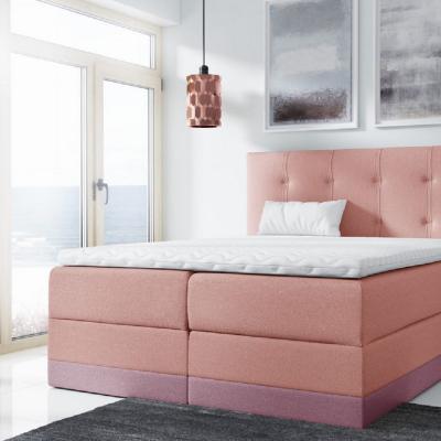 Levné Boxspringové postele: Jednoduchá čalouněná postel Tory 180x200, růžová