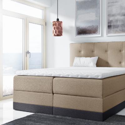 Levné Boxspringové postele: Jednoduchá čalouněná postel Tory 180x200, béžová