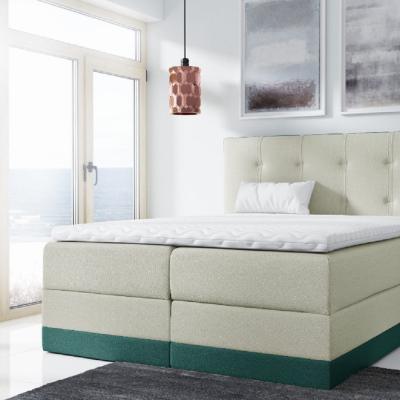 Levné Boxspringové postele: Jednoduchá čalouněná postel Tory 180x200, zelená