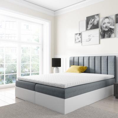 Levné Boxspringové postele: Dvoubarevná manželská postel Azur 200x200, šedomodrá + bílá eko kůže + TOPPER
