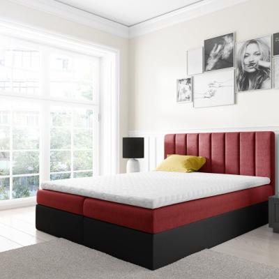 Levné Boxspringové postele: Dvoubarevná manželská postel Azur 200x200, červená + černá eko kůže + TOPPER
