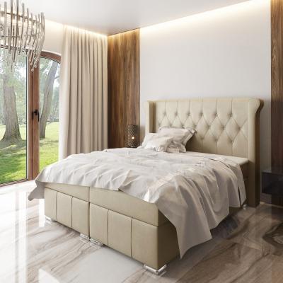 Levné Boxspringové postele: Elegantní čalouněná postel Maximo 160x200, béžová + TOPPER