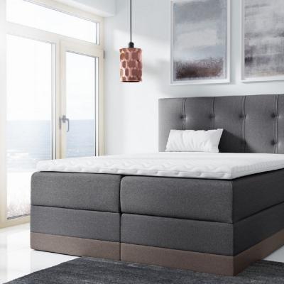 Levné Boxspringové postele: Jednoduchá čalouněná postel Tory 180x200, hnědošedá + TOPPER