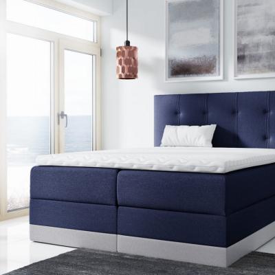 Levné Boxspringové postele: Jednoduchá čalouněná postel Tory 180x200, modrá + TOPPER
