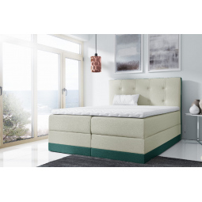 Levné Boxspringové postele: Jednoduchá čalouněná postel Tory 180x200, zelená + TOPPER