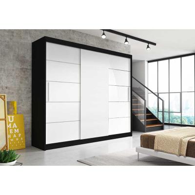 Levné Šatní skříně: Moderní šatní skříň Alivia II 250 cm, černý korpus, bílé - VÝPRODEJ