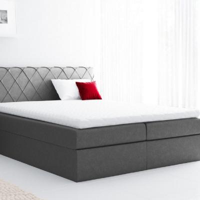 Levné Boxspringové postele: Pohodlná čalouněná postel Perez 180x200, šedá + TOPPER