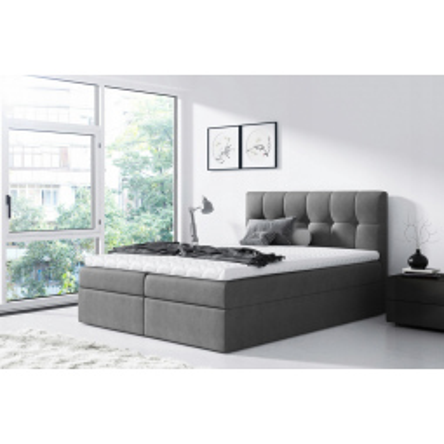 Levné Boxspringové postele: Jednoduchá postel Rex 120x200, šedá + TOPPER