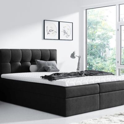 Levné Boxspringové postele: Jednoduchá postel Rex 180x200, černá + TOPPER