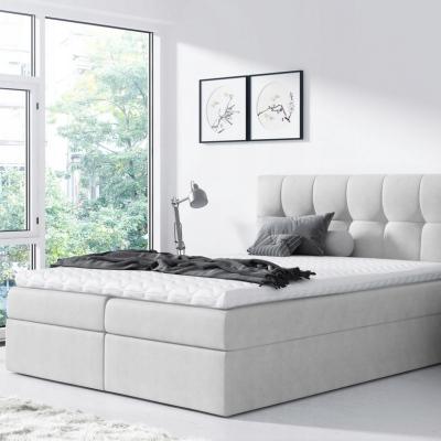 Levné Boxspringové postele: Jednoduchá postel Rex 180x200, světle šedá + TOPPER