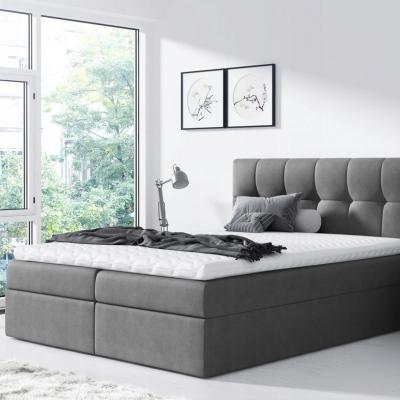 Levné Boxspringové postele: Jednoduchá postel Rex 200x200, šedá + TOPPER