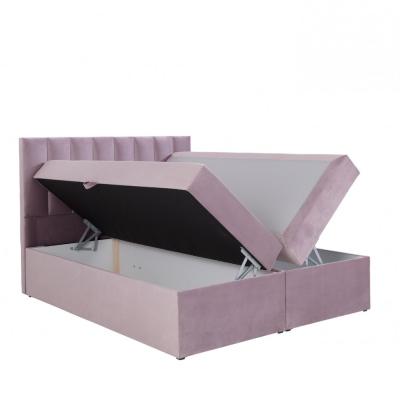 Levné Dvoulůžka s matrací a roštem: Čalouněná postel boxspring 180x200 SAMANTA - modrá 4