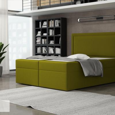 Levné Dvoulůžka s matrací a roštem: Postel s úložným prostorem 180x200 MOIRA - zelená