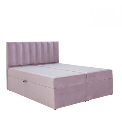 Levné Dvoulůžka s matrací a roštem: Designová postel s úložným prostorem 180x200 MELINDA - růžová 1